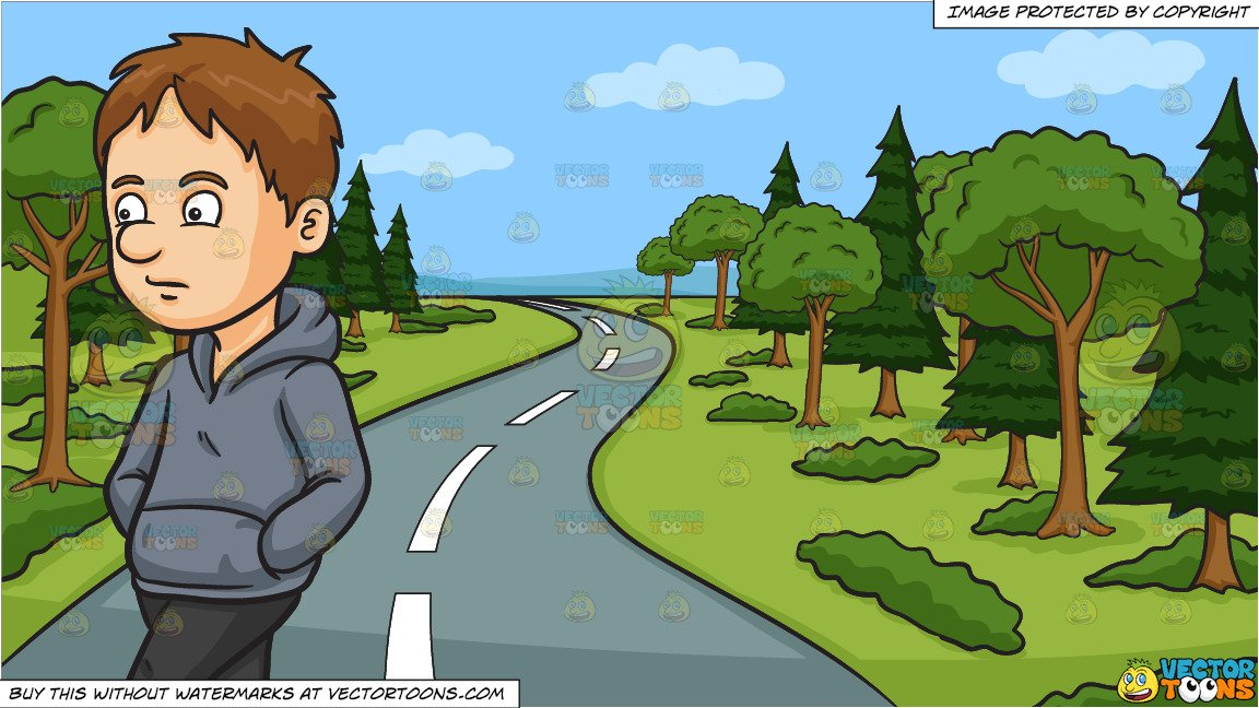 A Sad Walking Man and A Winding Country Road Background.