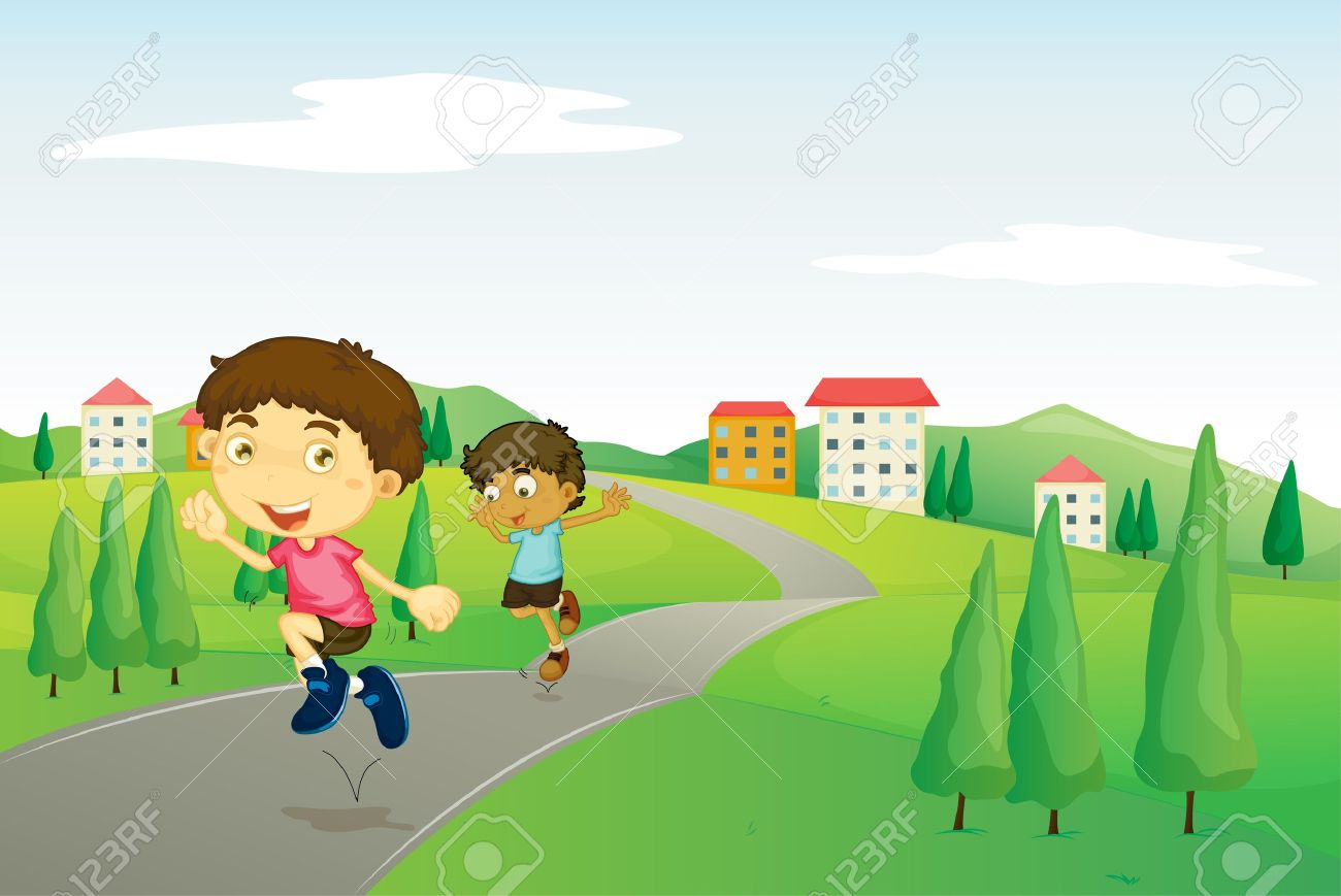 Walking On The Road Clipart.