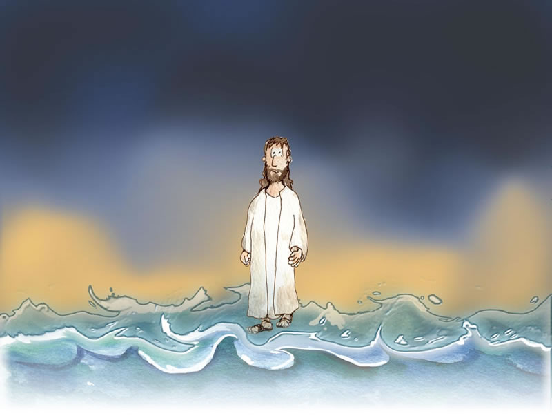 Peter walking on water clipart for children.