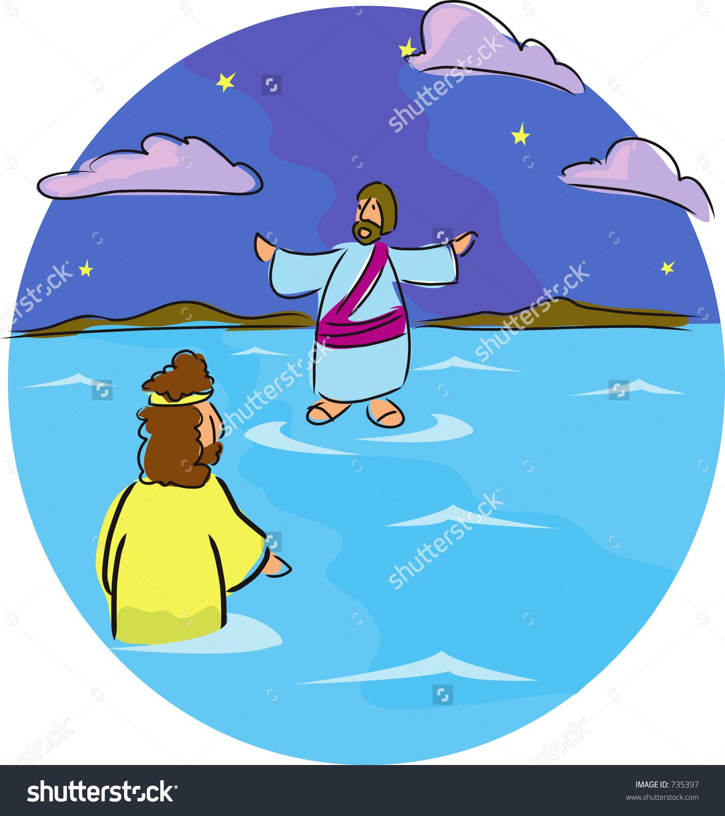 Jesus Walks On Water Stock Illustration 735397.