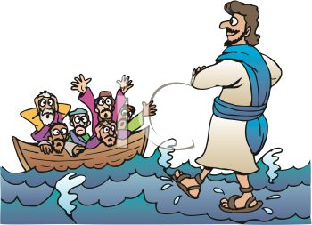 Jesus walks on water iCLIPART.