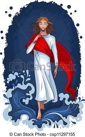 Clipart Vector of Jesus walking on water.
