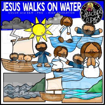 Jesus Walks on Water Clip Art Set {Educlips Clipart}.