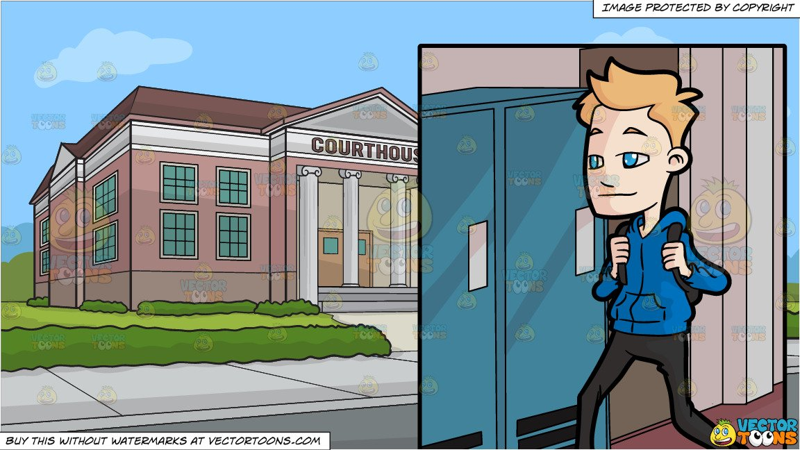 A Male High School Student Walking Towards The Locker Area and The Exterior  Of A Courthouse Background.
