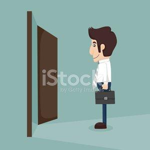Businessman walking to opened door Clipart Image.