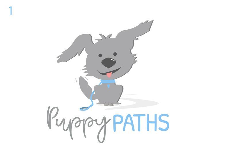 Personalize this gray pup pet logo, Dog walking, Doggie.
