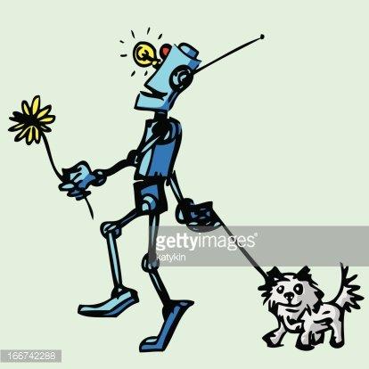 Robot walks his dog. Illustration. Clipart Image.