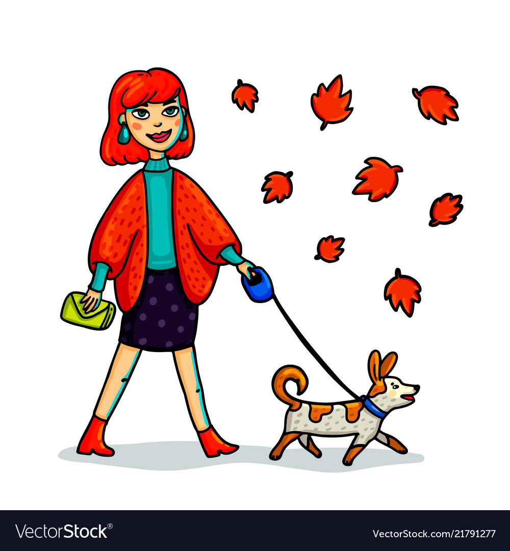 Young stylish woman walking with dog cartoon.