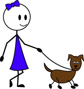 Dog On Leash Cartoon Clipart Image: Cartoon Stick Figure Girl.