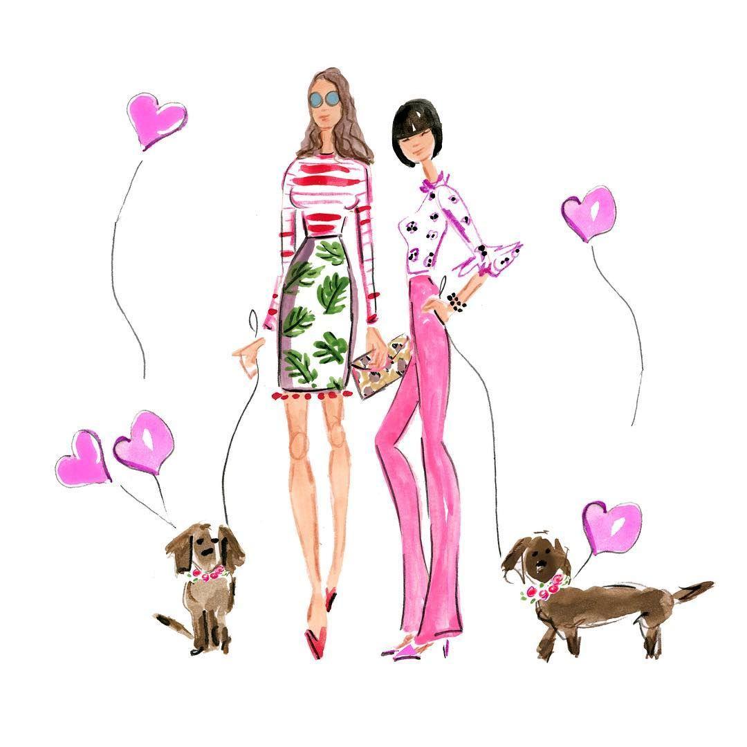 Walking the dog, Beth Briggs illustration.