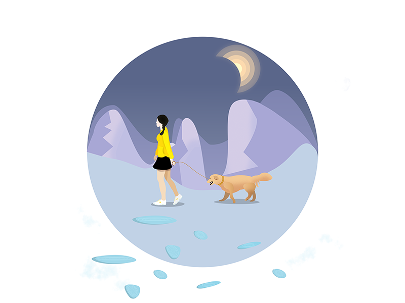 Night walk by Like the wind on Dribbble.
