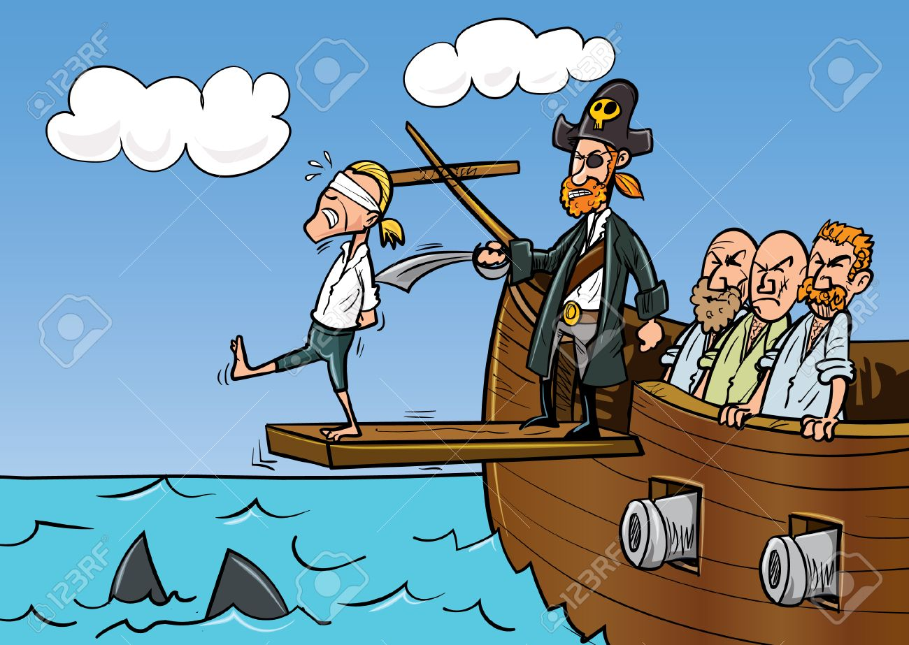 Cartoon pirate walking the plank. Sharks in the sea.