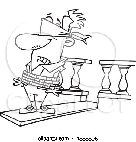 Clipart of a Cartoon Line Art Man Walking a Plank.