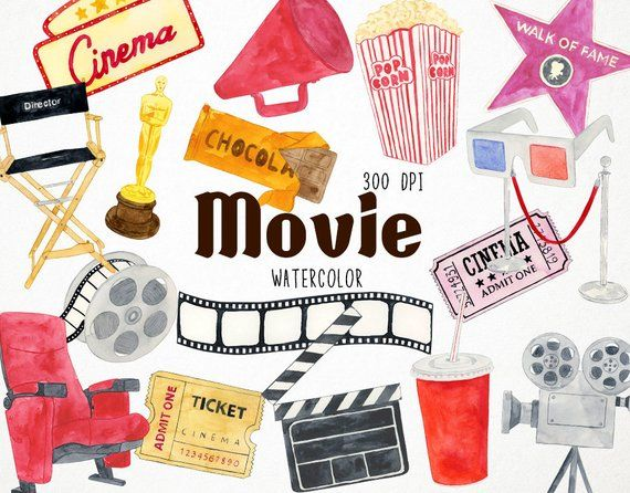 Movie Clipart, Hollywood Clipart, Cinema Clipart, Popcorn.