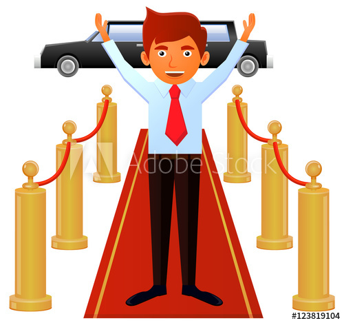 Happy man with necktie walking on red carpet vector icon.