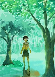 Man walking in the forest painting Clipart Image.