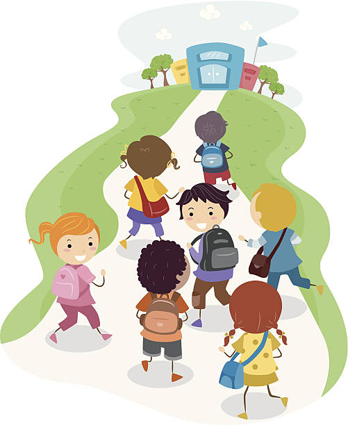 Kids Walking To School Clipart Images Illustrations Vecr.
