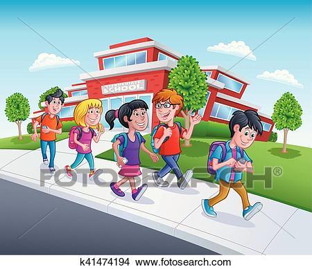 School Kids Walking From School Clipart.
