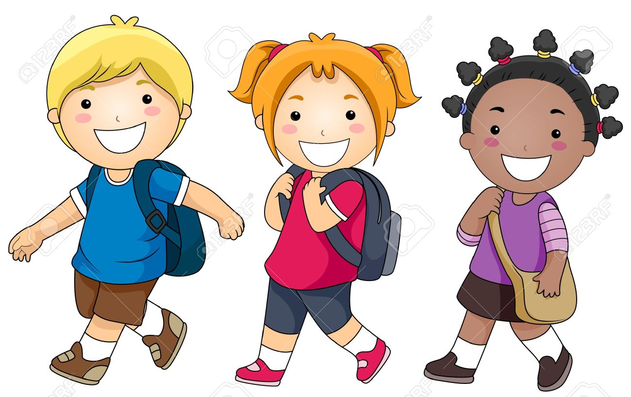 A Small Group of Kids Walking to School.