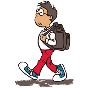 Boy Walking To School Clipart.