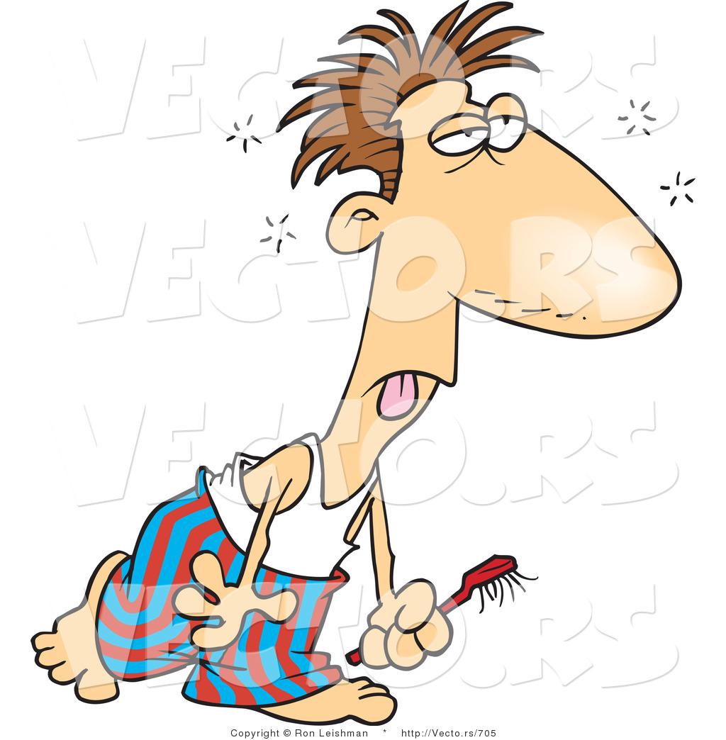 Vector of a Groggy Cartoon Man Walking to Bathroom with.