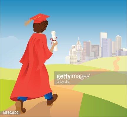 Graduate walking toward future Clipart Image.