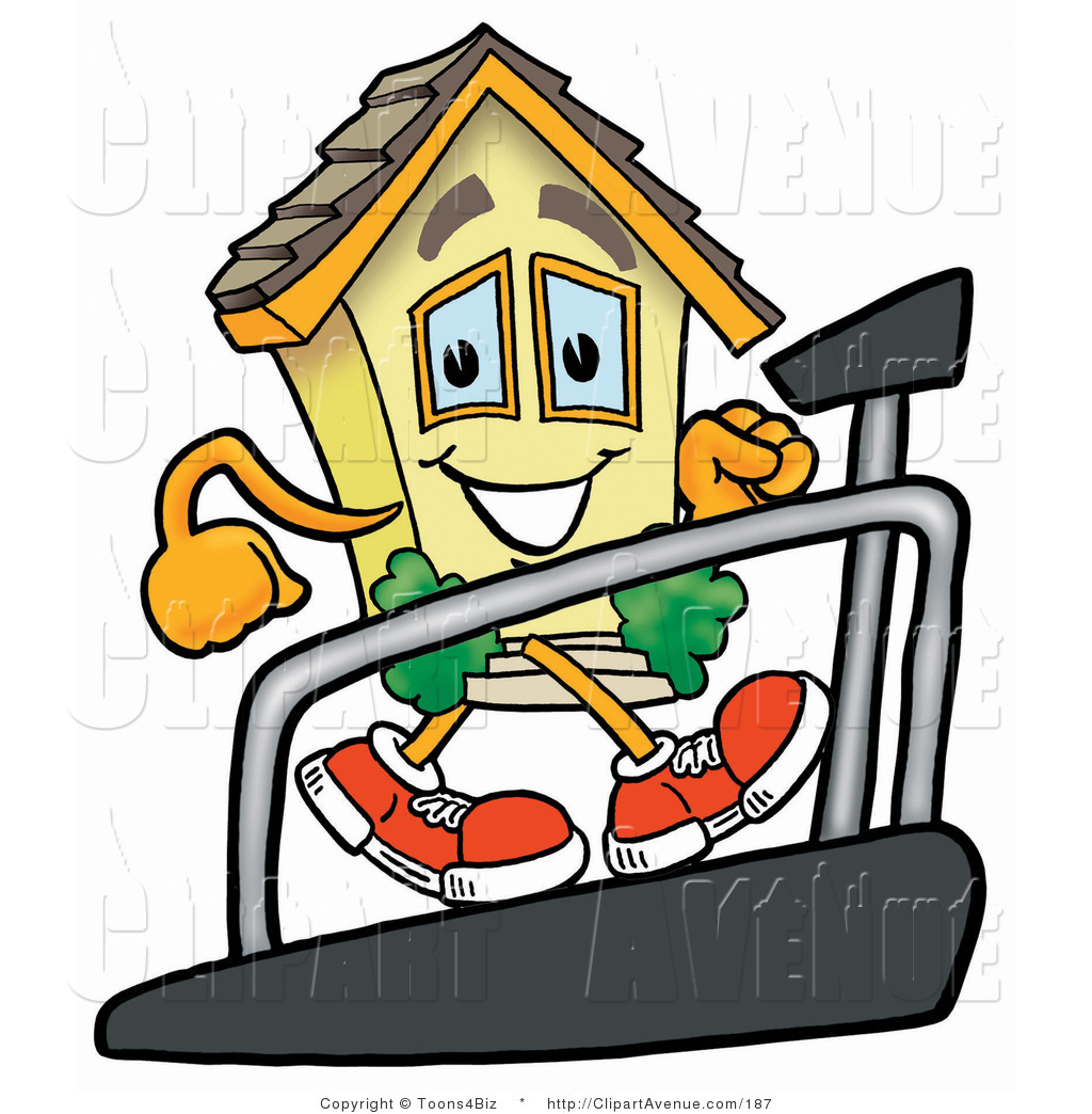Avenue Clipart of a Home Mascot Cartoon Character Walking on.