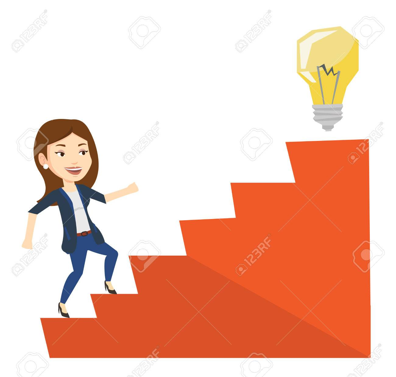 Businesswoman walking upstairs to the idea bulb. Businesswoman...