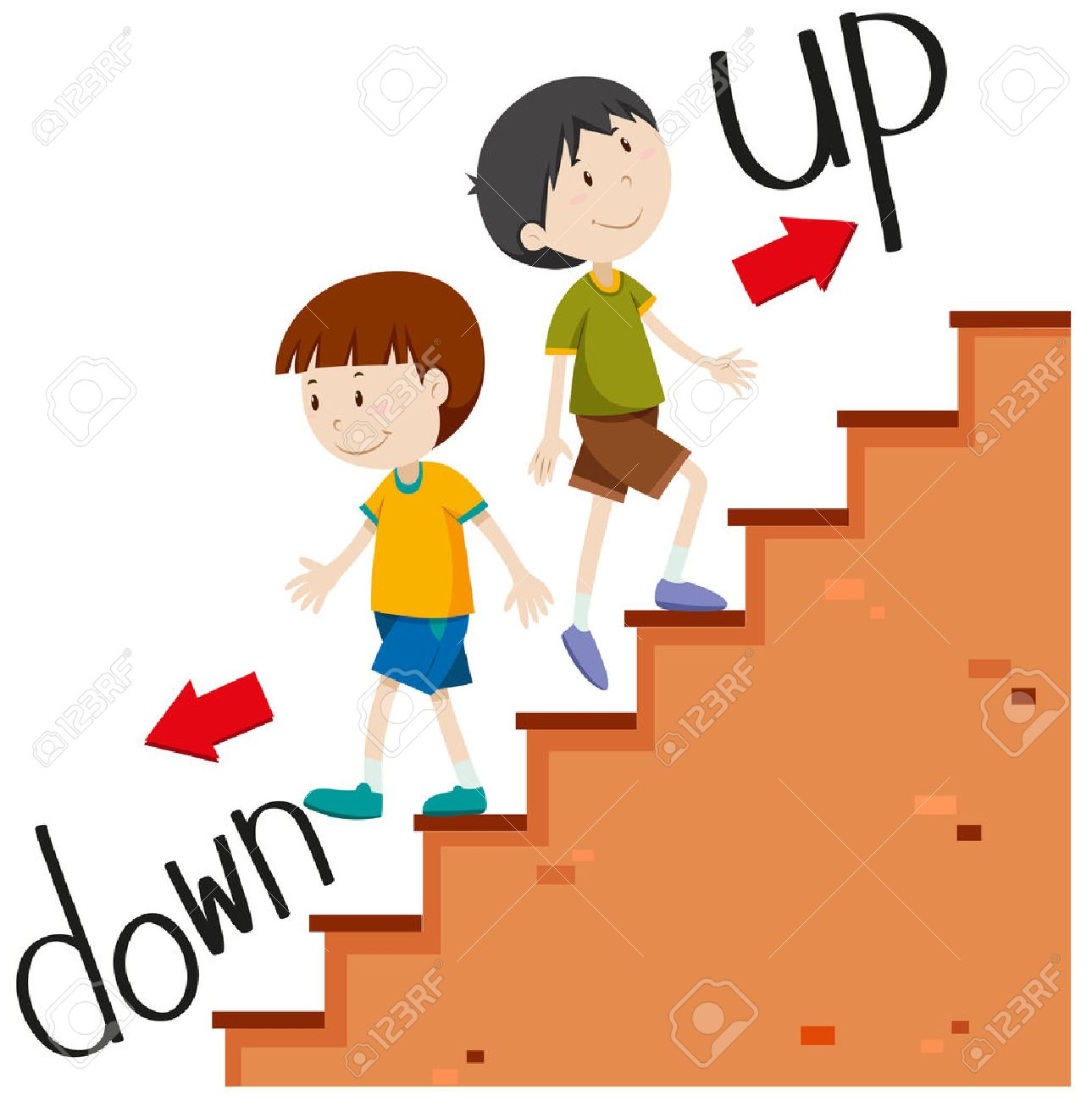 Boys walking up and down illustration.