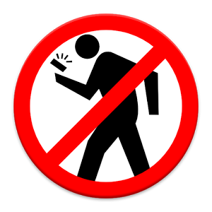 Texting While Walking Clipart.