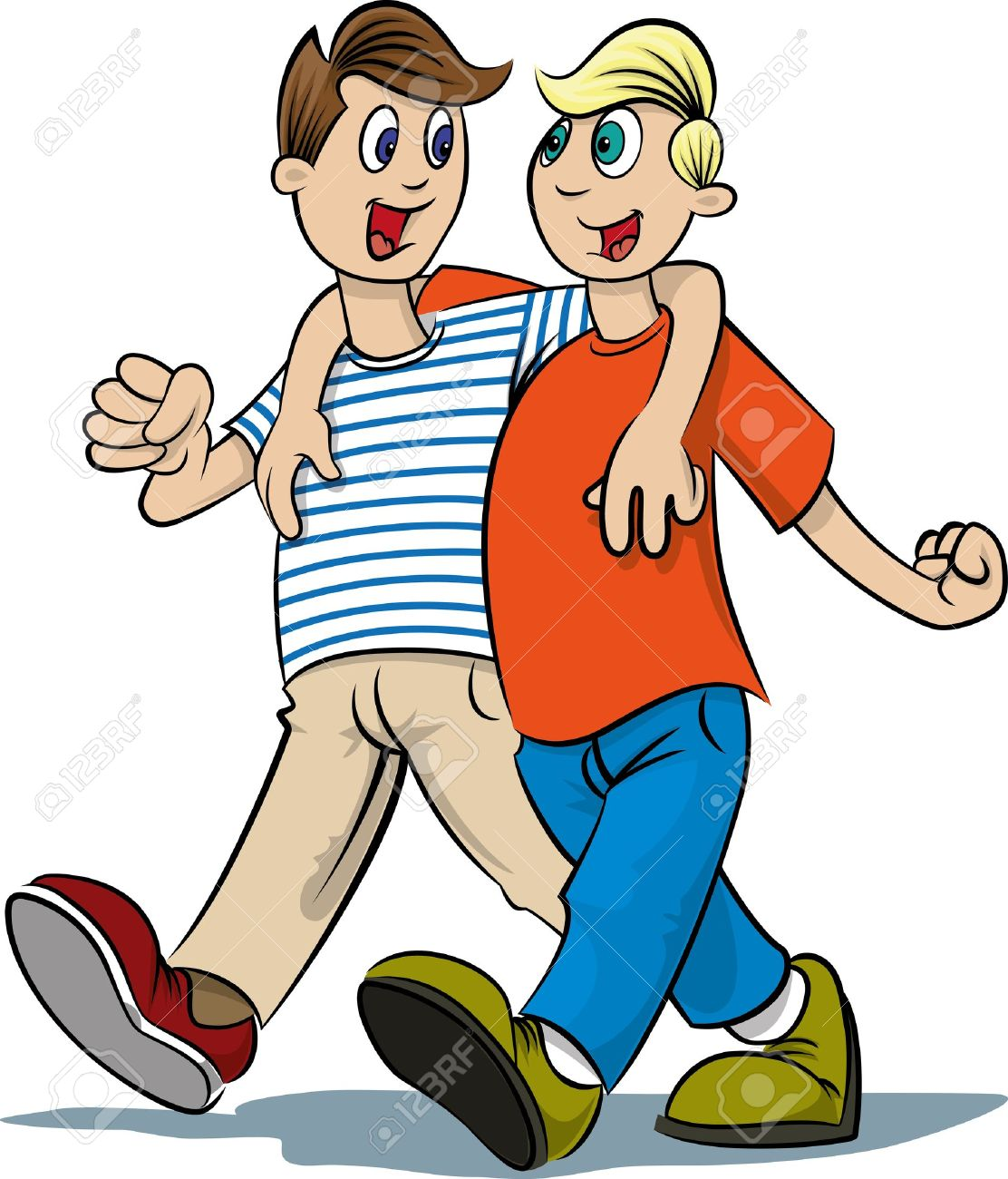 Two Boys Walking Royalty Free Cliparts, Vectors, And Stock.