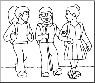 Blind Child and Friends Walking to School clip Art (B&W).