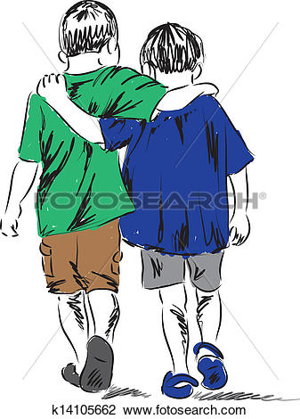 Clipart of friends two boys walking together i k14105662.