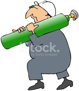 Worker Carrying An Oxygen Tank Clipart Image.