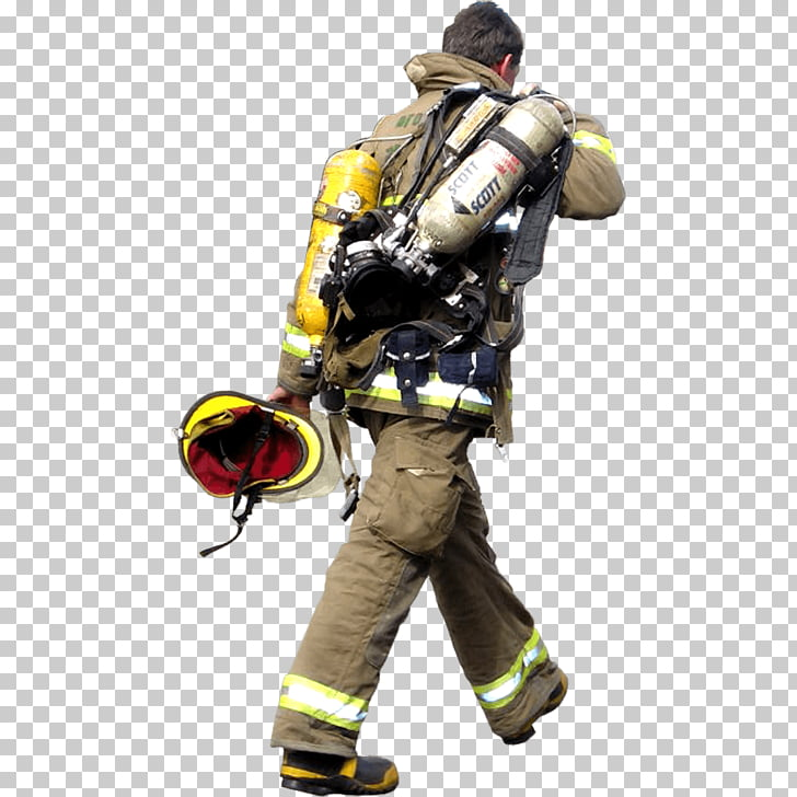 Firefighter Walking, firefighter carrying helmet and oxygen.