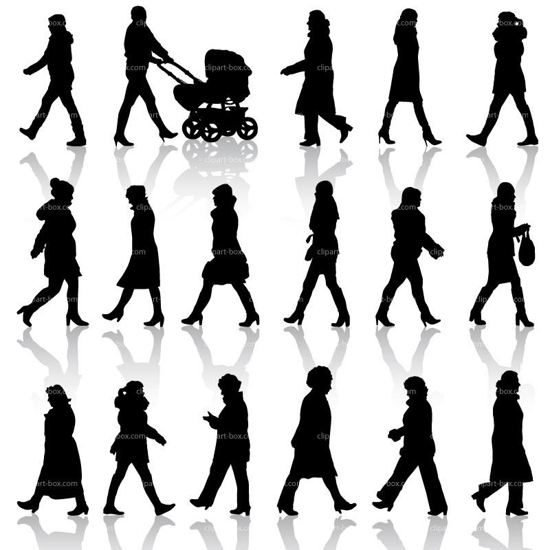 CLIPART WALKING WOMEN SILHOUETTES.