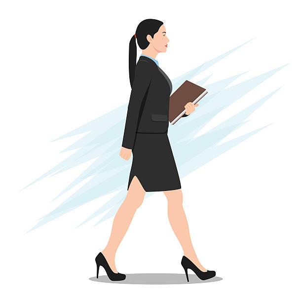 Woman Walking Profile Clip Art, Vector Images & Illustrations.