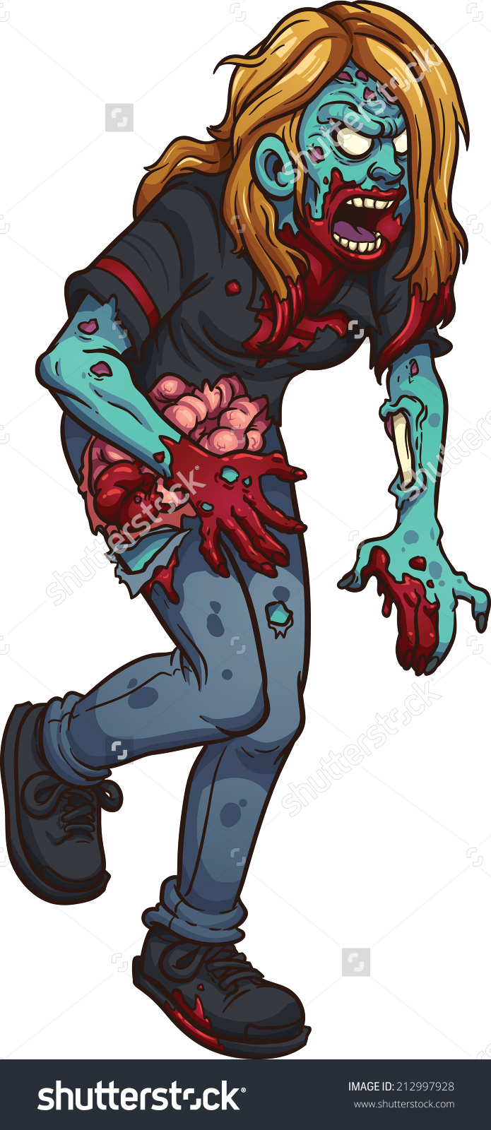 Walking Zombie Woman Vector Clip Art Stock Vector 212997928.