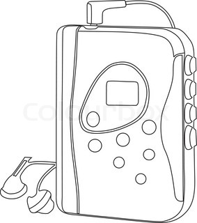 Retro walkman clip art with headphones since 80s and 90s.