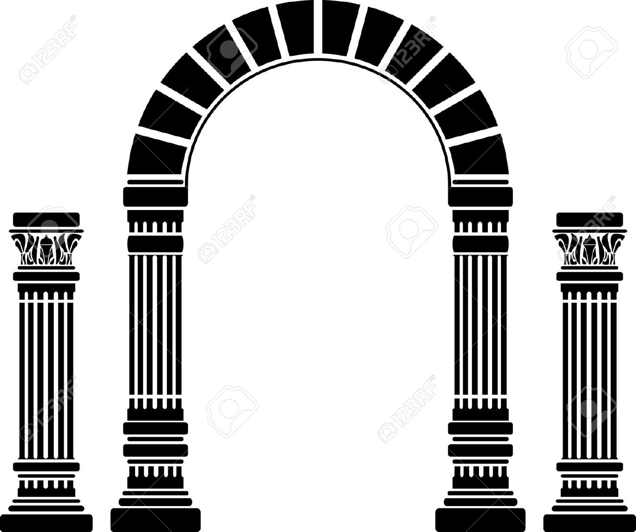 Fantasy Arch And Columns. Stencil. First Variant. Vector.