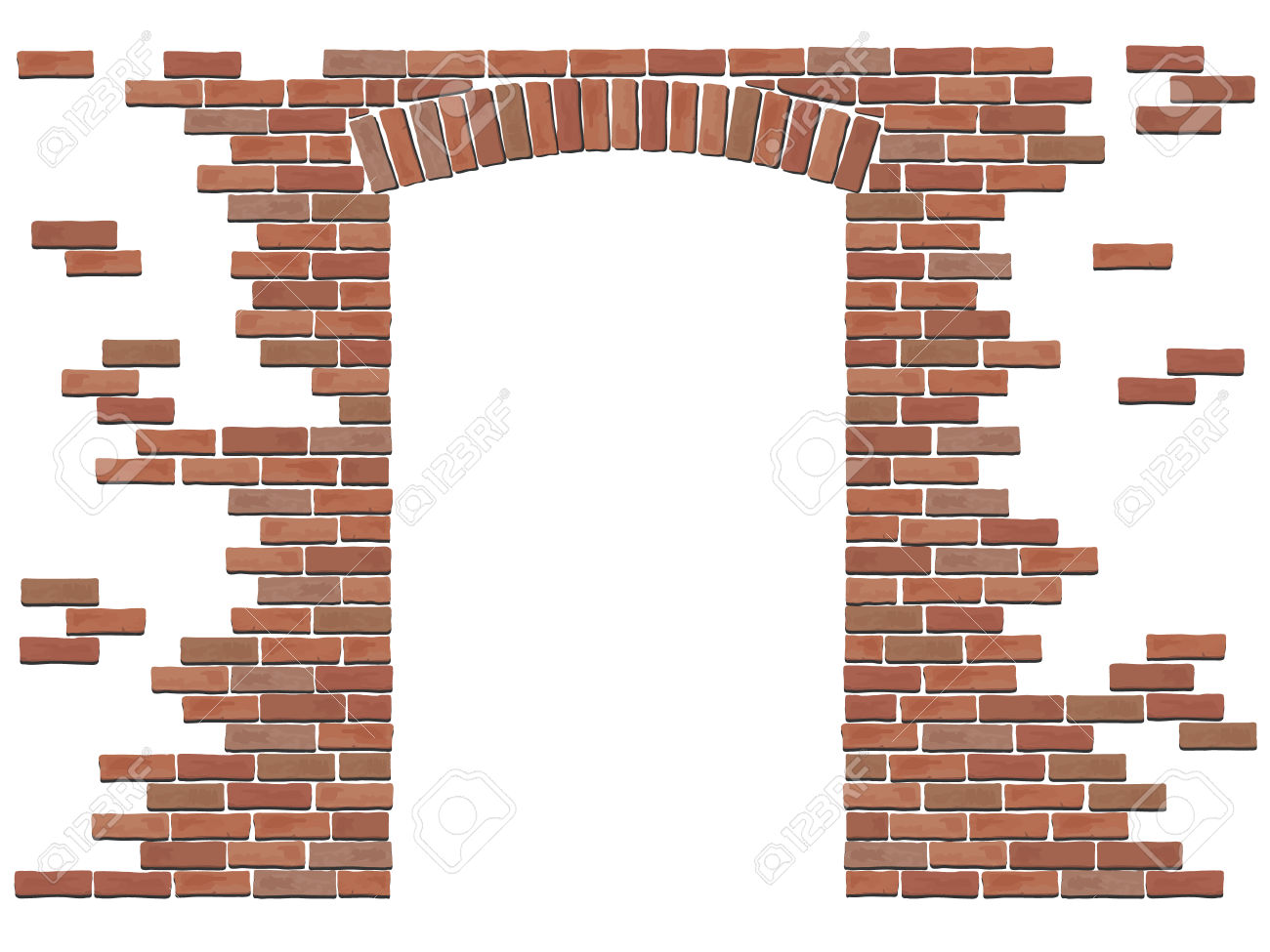 Arch In The Wall Of Red Brick. Vector Isolated Elements On White.