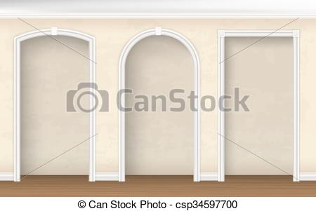 Vector Clipart of arches of different shapes in the wall.