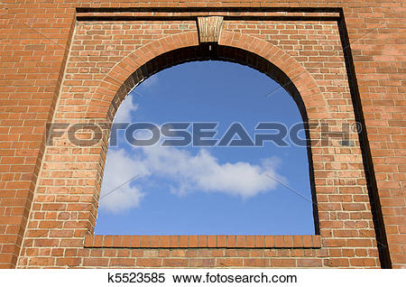 Stock Illustration of Arch window in the brick wall k5523585.
