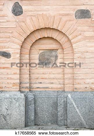 Stock Illustration of Old brick wall with arch imitation.