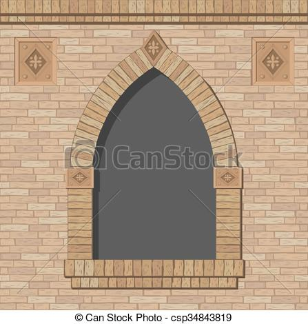 Vector Clip Art of Brick arch opening of the brick in a classic.