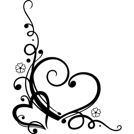 Decorative Love Heart Floral Wall Art Sticker Wall Decal Transfers.