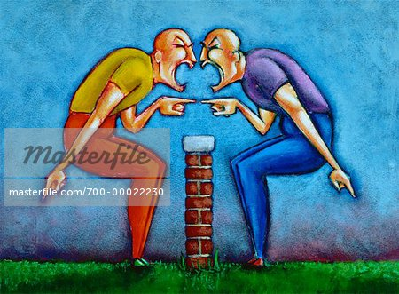Illustration of Two People Arguing over Wall.
