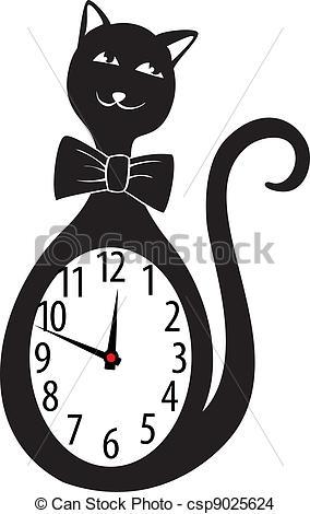 EPS Vector of Cute wall clock cat sticker. Vector illustration.
