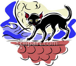 Black Cat Walking on a Wall Royalty Free Clipart Picture.