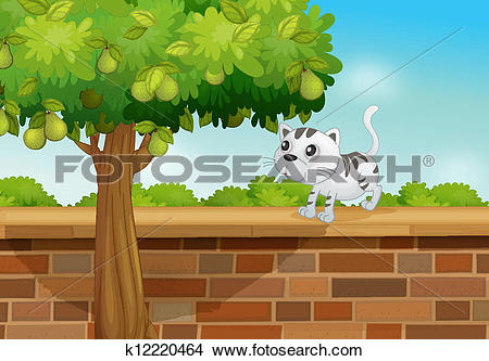 Clipart of A cat on a wall k12220464.